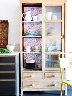 9 Tips For Beautiful Organization // wallpapered china cabinets // kitchen storage ideas
