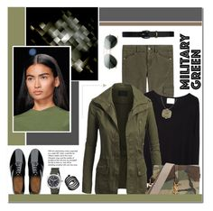 """Military Green"" by anyasdesigns ❤ liked on Polyvore featuring 7 For All Mankind, La Garçonne Moderne, FitFlop, Lauren Ralph Lauren, Yves Saint Laurent, Michael Kors, Bulova, Marc by Marc Jacobs, Tiffany & Co. and GREEN"