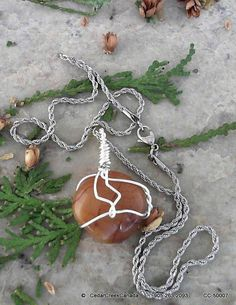 Ocean Jasper Silver Plate Wire Wrapped by CedarCreekCanada on Etsy