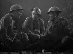 Jeffrey Lynn, James Cagney, and Humphry Bogart as American infantry men during WWI in the gangster film The Roaring Twenties 1939.