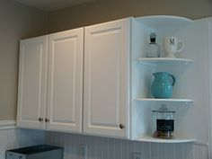 Kitchen Cabinet Corner Shelf Knives Reviews Open Shelves For Cabinets Easy To Build End Plans Made Built In Display We Purchased Cheap Attached Them Plastered The Walls Then Gave Back Wall A