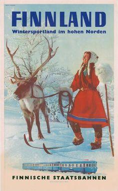 Poster: Finnland - Wintersportland in hohen Norden Artist: Photo: E. Poster Ads, Advertising Poster, Vintage Advertisements, Vintage Ads, Portland, Illustrations Vintage, Vintage Ski Posters, Travel Ads, Ville France