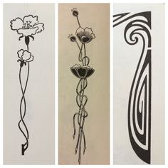 Art nouveau tattoo ideas. I think I would prefer to not use flowers, but if we did go that route, I think the poppies here are great.