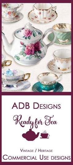 A variety of Victorian china ready for romantic or heritage digital art products.  #ADBDesigns #digitalscrapbooking #ReadyForTea #GoDigitalScrapbooking  https://www.godigitalscrapbooking.com/shop/index.php?main_page=product_info&cPath=452&products_id=34202