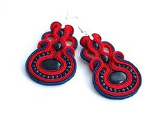 Earrings made with the soutache embroidery technique using blue Goldstone and fire polish. Earrings size: ca 4 cm x 6 cm (Total length 8 cm - 3) Earrings in spite of their size are very light The whole is mounted on the English earwires in silver color . Impregnated which significantly reduces the absorption of dirt . The picture presents face and reverse of the earring.  Earrings are ready to ship!  I accept PayPal payments. Payment must be made within 3 days of placing order or I reserve…