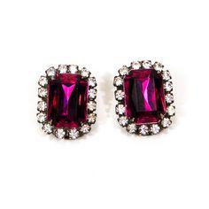 Purple and Rhinestone Earrings Emerald Cut by VintageMeetModern