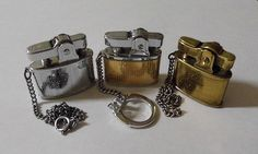 Small Vintage Cigarette Lighters with Chains - Pereline (L), King Babystyle (C), Royal Star (R), Made in Japan.