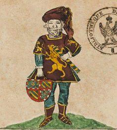 """Le héraut """"Charolais"""" (f°1r) -- Armorial dit du héraut Charolais (Bibliothèque de l'Arsenal Ms 4150), 1425 (copie de 1658)"""