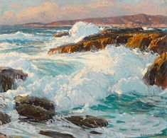 Seascape Paintings, Landscape Paintings, Landscapes, Abstract Landscape, Missouri, Edgar Payne, Italy Painting, Painting Trees, Traditional Paintings