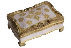 Vintage Florentine-style decorative box, hand-painted in gold and pink