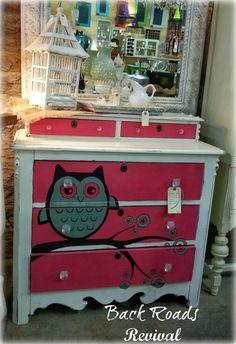 Owl graphic dresser. Perfect for Nursery Chest of Drawers! ( owl dresser painted dresser nursery dresser )