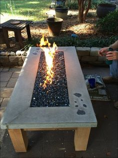 Hillbilly fire pit Horse trough with natural gas fire clear fire