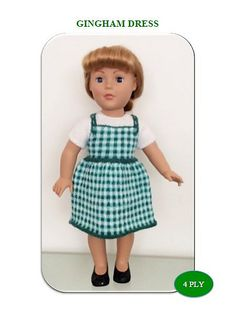 """Ravelry: Gingham Dress for 18"""" Dolls pattern by UNA HENDRY"""