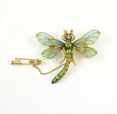 - 19th century plique � jour enamel and gold dragonfly brooch, c.1890,
