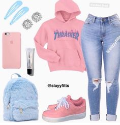 𝓘𝓼 𝓽𝔂𝓹𝓲𝓷𝓰 . white bodysuit pastel colorful windbreaker light blue jeans (ripped) pastel colorful Air Force - August 31 2019 at Swag Outfits For Girls, Cute Outfits For School, Teenage Girl Outfits, Cute Swag Outfits, Cute Comfy Outfits, Girls Fashion Clothes, Teenager Outfits, Teen Fashion Outfits, Trendy Outfits