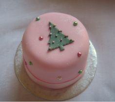 Pink and green Christmas cake
