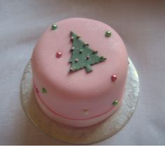 Pink and green Christmas cake