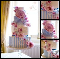 Pink and blue stripey wedding cake