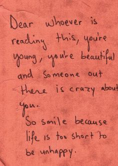 Dear whoever, you're beautiful