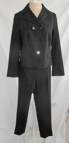 ca544ac3869 NOS Akris Pants Suit Jacket Blazer Black 10 12 Cropped Military Double  Breasted | eBay Fashion