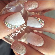 "4,070 Likes, 67 Comments - Stephanie Loesch (@_stephsnails_) on Instagram: ""#nude#white#acrylicombre#cutenails#notpolish#love#glitter#silver#lace#whiteonwhite#diamonds#weddingnails#loveit"""