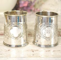 Pair of silver plate beakers, mini tankards, or mugs - vintage, decorative.
