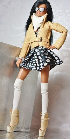 fashion royalty, fr2 dollsalive Tough Flower outfit, leather shoes ,bag
