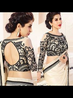This long sleeve sari blouse is everything! Black, blush and an intricate lace design are stunning