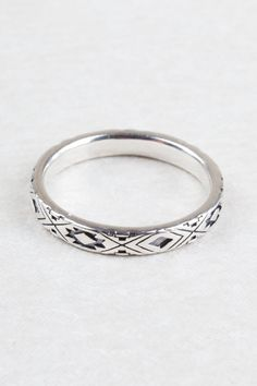 4mm Aztec Band.  Beautiful silver jewellery at Tree of Life, Boho fashion desirables