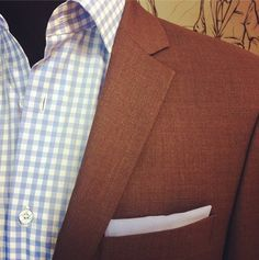 Beautiful summer brown suit with notch lapel and baby blue gingham #suitoftheday #TrioCustoms