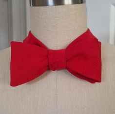 Red vintage Japanese kimono silk self-tie bow ite by BabyAndMommaBoutique on Etsy