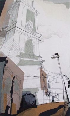 St Stephens Church Stockbridge, Edinburgh Collage with Ink, January 2014 25cm x 35cm