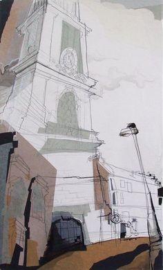 St Stephens Church Stockbridge, Edinburgh Collage with Ink, January 2014 25cm x 35cm