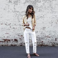 Blogger Style | Julie Sariñana (Sincerely Jules): Cardigan x mesh top x White boyfriend Jeans x hermes sandals