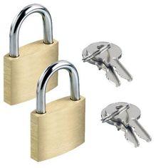 £1.99 GBP - 2 X Brass Padlock Security Locker Lock 2 Keys 20Mm,25Mm Heavy Duty Luggage Lock #ebay #Home & Garden