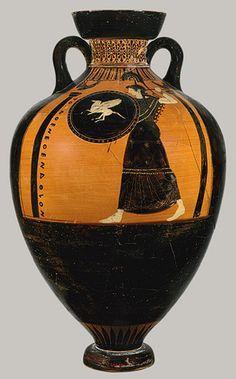 Panathenaic prize amphora, ca. 525–500 B.C.; black-figure  Attributed to the Kleophrades Painter  Greek, Attic  Terracotta