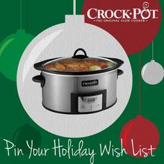 Want to win a Crock-Pot® Slow Cooker with Stovetop-Safe Cooking Pot? Add it to your holiday wish list in our Pinterest sweepstakes! Visit http://on.fb.me/Rp2hVW to enter. Sweepstakes ends 12/24. #CrockPot #SlowCooker #holiday #wishlist #gift #pintowin #sweepstakes [Promotional Pin]