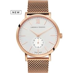 Larsson & Jennings - Rose Gold Mechanical Milanese Watch by Larsson &... ($1,795) ❤ liked on Polyvore featuring jewelry, watches, rose gold jewellery, rose gold wrist watch, red gold jewelry, rose gold watches and pink gold jewelry