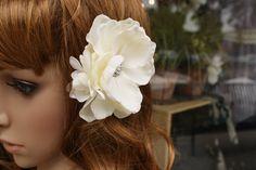 Bridal hair flower, The Natalie - ready to ship, bridal hair piece, bridal head piece,  Ivory silk flowers with rhinestones. $35.00, via Etsy.