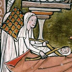 This shall be a sign unto you. You shall find the infant wrapped in swaddling clothes and laid in a manger. c Psalter Aix-en-Provence Bibliothèque municipale ms 15 fol IXr Medieval Manuscript, Medieval Art, Illuminated Manuscript, Medieval Life, Medieval Dress, Renaissance, High Middle Ages, Templer, Viking Age