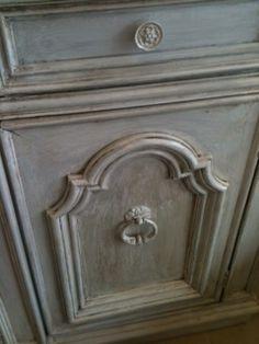 Annie Sloan Chalk paint™ Decorative Paint Paris Grey Refurbished hutch available at Ld linens & decor.
