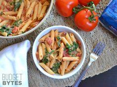 creamy tomato & spinach pasta.