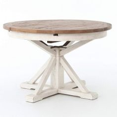 Shop Our Rustic White Wash Round Pedestal Dining Table sale. Our Rustic pedestal dining room table is crafted from fast-growing, environmentally-friendly Mango hardwood. Expandable Round Dining Table, Round Extendable Dining Table, Round Wood Table, Round Pedestal Dining Table, Dining Table Design, Dining Room Table, Oval Table, Round Tables, Small Dining