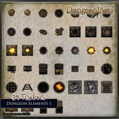 Dungeon Elements 1 Contact sheet.  Fantasy Map Objects for use in tabletop role playing games or virtual tabletops like Roll20.net