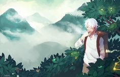 I lOVELOVE the scenery and atmosphere of mushi shi... It makes me want to just run away into the mountains TuT also i drew all of those leaves individually and I hated it another print for cons thi...