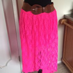 Pink skirt  This is an pink skirt that has brown belt with it and is made from curtain fabric  the front of the skirt is short and the back is long Skirts Midi