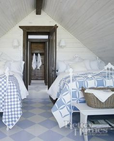 I like the two quilts.  Same colors but different quilt designs.  Hydrangea Hill Cottage: Gorgeous Garret Getaways