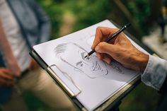 Marianne and Luke had a caricaturest - Caricatures4u to produce Hollywood style drawings of their guests. Nordic Photography. Read more.... @intimateweddings.com #receptionideas #realwedding