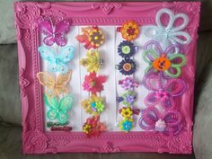 My handmade creations! Mesh Tube hair bows, butterfly bows, button bows and leaf bows!