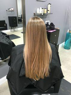 Natural balayage highlights on medium brown long straight hair